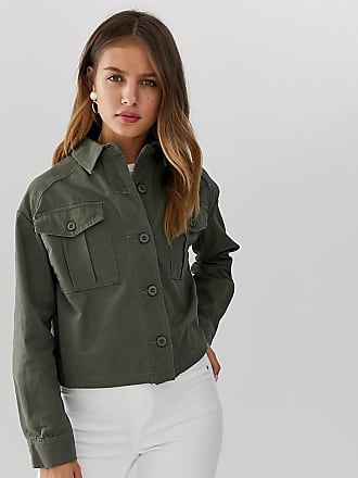 New Look cropped utility shacket in khaki - Green