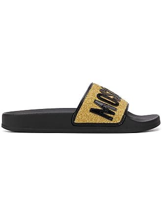Moschino glitter-strap slides - Black