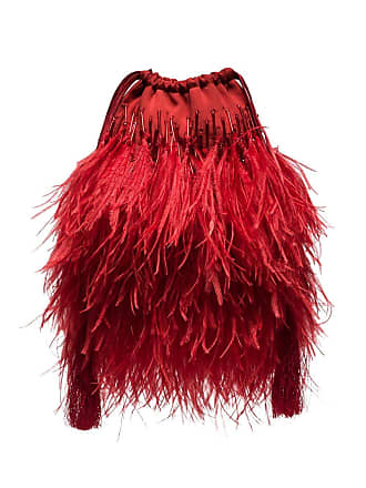 Attico Ostrich feather pouch - Vermelho