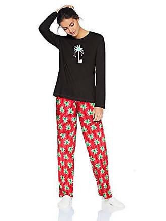 951690ad38 Hue Womens Printed Knit Tee and Pant 3 Piece Pajama Set, Black/Candy Palm