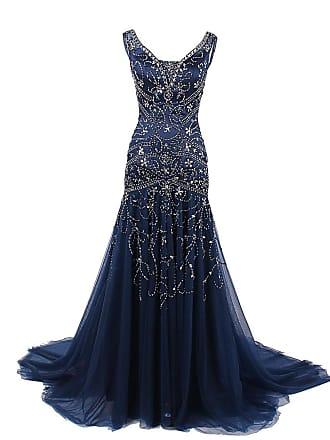 da801ee83169 Dresstells Womens Long Mermaid Tulle Evening Gown Prom Dress with Sequins  Evening Gown Navy Size 6