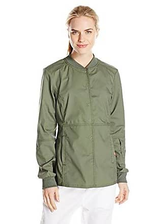 Dickies Womens EDS Signature Stretch Snap Front Warm-Up Jacket, Olive XXX-Large