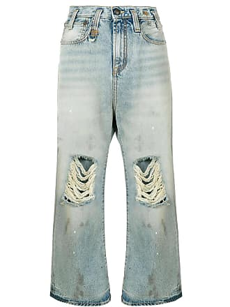 R13 distressed wide-leg cropped jeans - Blue
