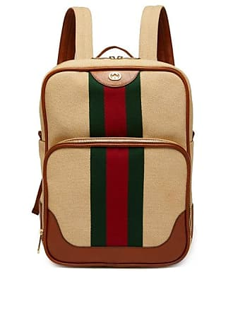 a9f02a8de Gucci Web Stripe Canvas And Leather Backpack - Mens - Cream Multi