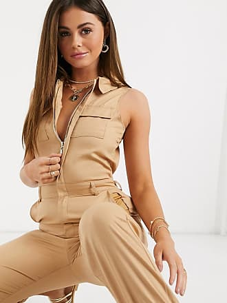 Missguided sleeveless utility jumpsuit in stone-Tan