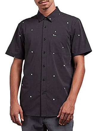 Volcom Mens Dragstone Modern Fit Woven Button Up Short Sleeve, Asphalt Black, Small