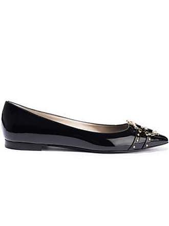 Roberto Cavalli Roberto Cavalli Woman Embellished Patent-leather Point-toe Flats Black Size 39
