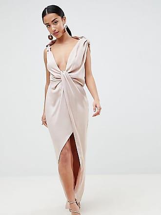 436b47ea3 Asos Petite ASOS DESIGN Petite Drape Satin Maxi Dress - Pink
