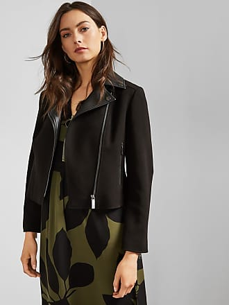 Ted Baker Faux Leather Collar Biker Jacket in Black TOPAS, Womens Clothing