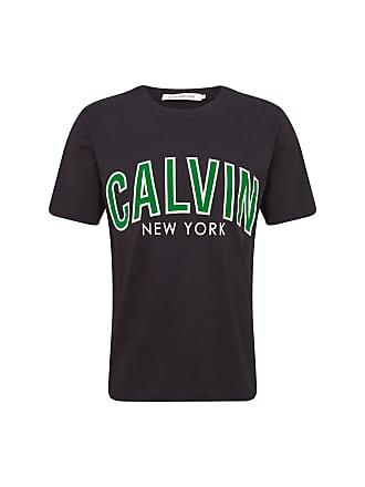 75919d4fea320b Calvin Klein Jeans Shirt CALVIN CURVED VARSITY REG SS dunkelgrün   schwarz    weiß
