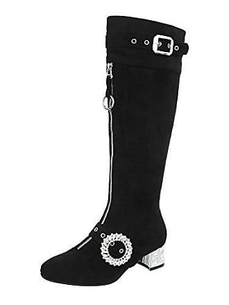 892f775165d5 Ital-Design Klassische Stiefel Damen-Schuhe Klassische Stiefel Pump Moderne  Reißverschluss Stiefel Schwarz,