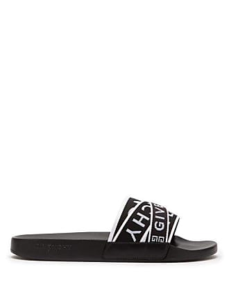 Givenchy Logo Strap Rubber Slides - Mens - Black White