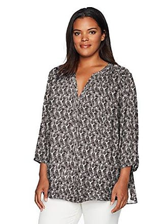 NYDJ Womens 3/4 Sleeve Pintuck Blouse, Clambake Black, S