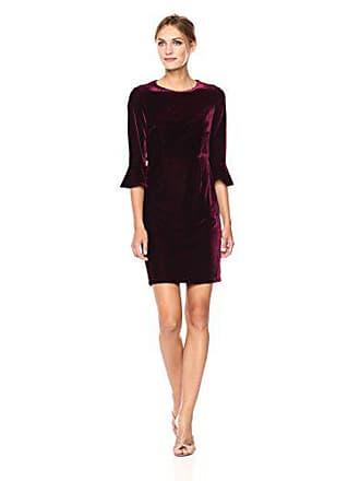 Donna Morgan Womens Jean 3/4 Bell Sleeve Velvet Sheath Dress, Wine Burgundy, 16