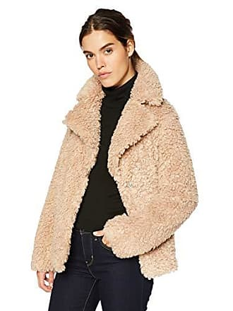Kensie Womens Short Fuax Fur Coat with Large Notch Collar and Lapel, Nude, Small
