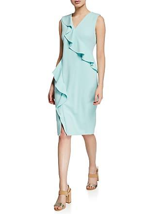 Iconic American Designer Cascading Ruffle Sheath Dress