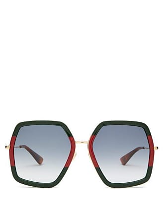 1dd52c55d28 Gucci Web Striped Geometric Acetate   Metal Sunglasses - Womens - Green  Multi