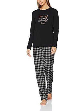 3b9849504922e5 Skiny Damen Zweiteiliger Schlafanzug Season of Dreams Sleep Pyjama lang  Mehrfarbig (Black 7665) 42