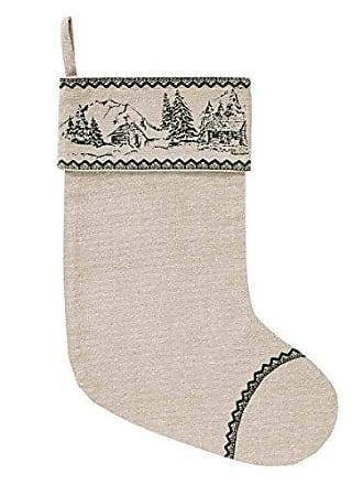VHC Brands Holiday Decor-Timberland Christmas Tan Stocking, 15 x 11