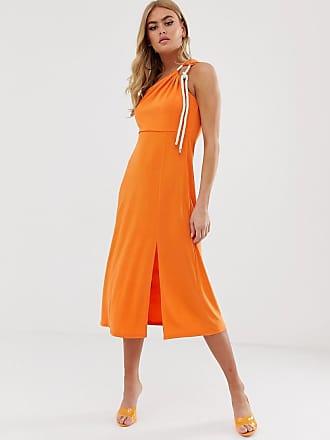 5183cb4f74c5 Asos slinky one shoulder midi dress with rope detail - Orange
