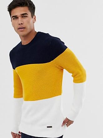 Burton Menswear color block sweater in yellow - Yellow
