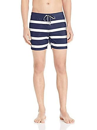 1df604fe8b Lacoste Mens Striped Serge Imprime Short Swimmer, Navy Blue/White, Small