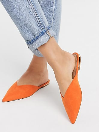 Asos Wide Fit Lou pointed mules in orange