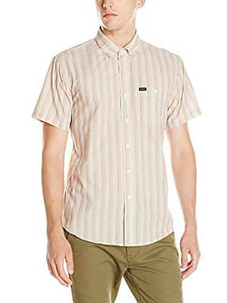47796bb332 Brixton Mens Howl Short Sleeve Woven Shirt, Cream/Taupe Medium