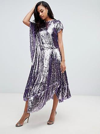 561d394f7d7 Asos Robe drapée en sequins avec ourlet asymétrique - Violet