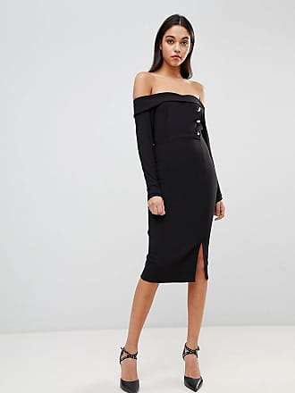 Asos Bardot Button Through Pencil Dress - Black