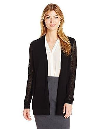 Jones New York Womens Mesh Sleeve Sweater Cardi, Black, L