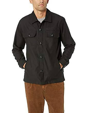 Obey Mens Station Military Shirt Jacket, Black X-Large