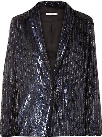 Alice & Olivia Jace Oversized Sequined Satin Blazer - Navy