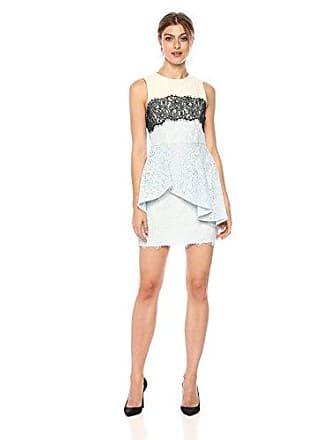 Bcbgmaxazria BCBGMax Azria Womens Noah Asymmetrical Lace Peplum Dress, Light Crystal Blue Combo 6