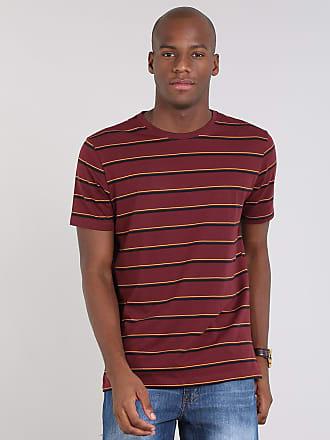 Basics Camiseta Masculina Básica Listrada Manga Curta Gola Careca Vinho