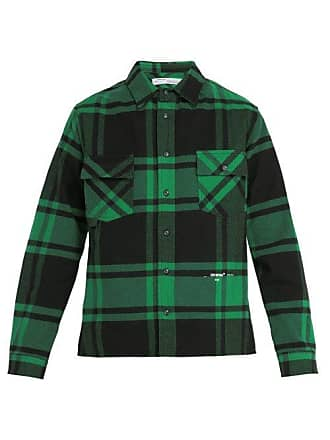 Off-white Off-white - Checked Cotton Blend Flannel Shirt - Mens - Green