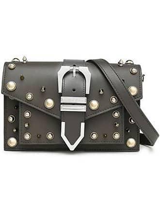 4e65ba7419 Versus Versus Versace Woman Studded Leather Shoulder Bag Dark Gray Size