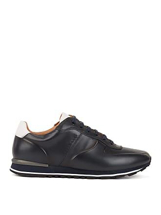 58b3bb32fba BOSS Hugo Boss Running-inspired sneakers in burnished calf leather 11 Dark  Blue