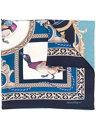 Salvatore Ferragamo Lenço quadrado com estampa Heritage - Azul