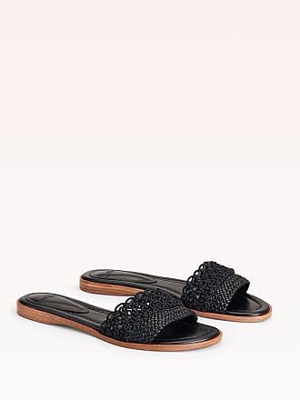 Alexandre Birman Lanny Flat Sandal - 35.5 Black Capreto Leather