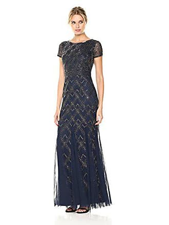 783dd92ed5b Adrianna Papell Womens Short Sleeve Fully Beaded Long Gown, Navy, 8. USD  $183.63