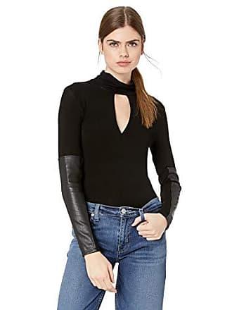365301e6c02 Bcbgmaxazria Womens Faux Leather-Trimmed Turtleneck Top