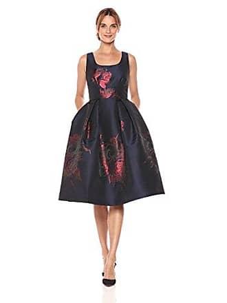 Ivanka Trump Womens Midi Scoial Floral Print Big Skirt Dress, Navy/Burgundy, 2