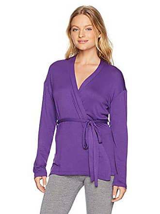 Maidenform Womens Organic Architecture Wrap Cardigan, Blueberry Purple, Large