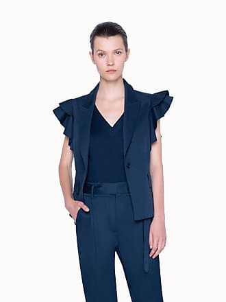 Akris Gilet in Satin Stretch with Flounced Sleeves