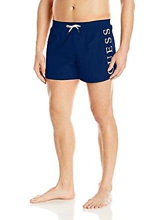 22ad390a2eda1 Guess Mens Side Logo 13 Inch Elastic Waist Swim Trunk, Electric Blue, M. USD  $49.00