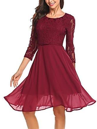 7e5a45fdb0cdb Finejo Damen Elegant Chiffonkleid Abendkleid Cocktailkleid 3/4 Arm mit  Spitzen Ballkleid Party Kleid A