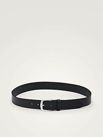 MASSIMO DUTTI DOUBLE-BUCKLE BLACK LEATHER BELT
