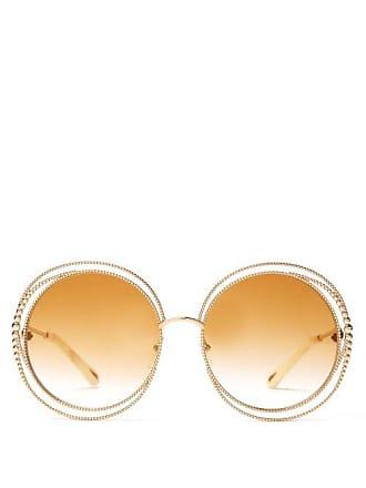 27e4015aa2e8 Chloé Carlina Oversized Round Metal Sunglasses - Womens - Gold