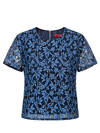 HUGO BOSS Hugo Boss Cropped short-sleeved top in two-tone lace 4 Open Blue